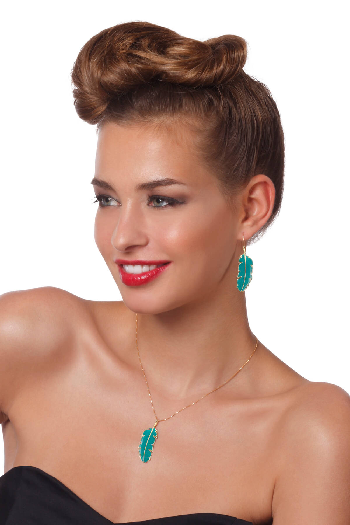 Handmade Vermeil Palm Leaf Small Earrings and Necklace – Turquoise Pattern
