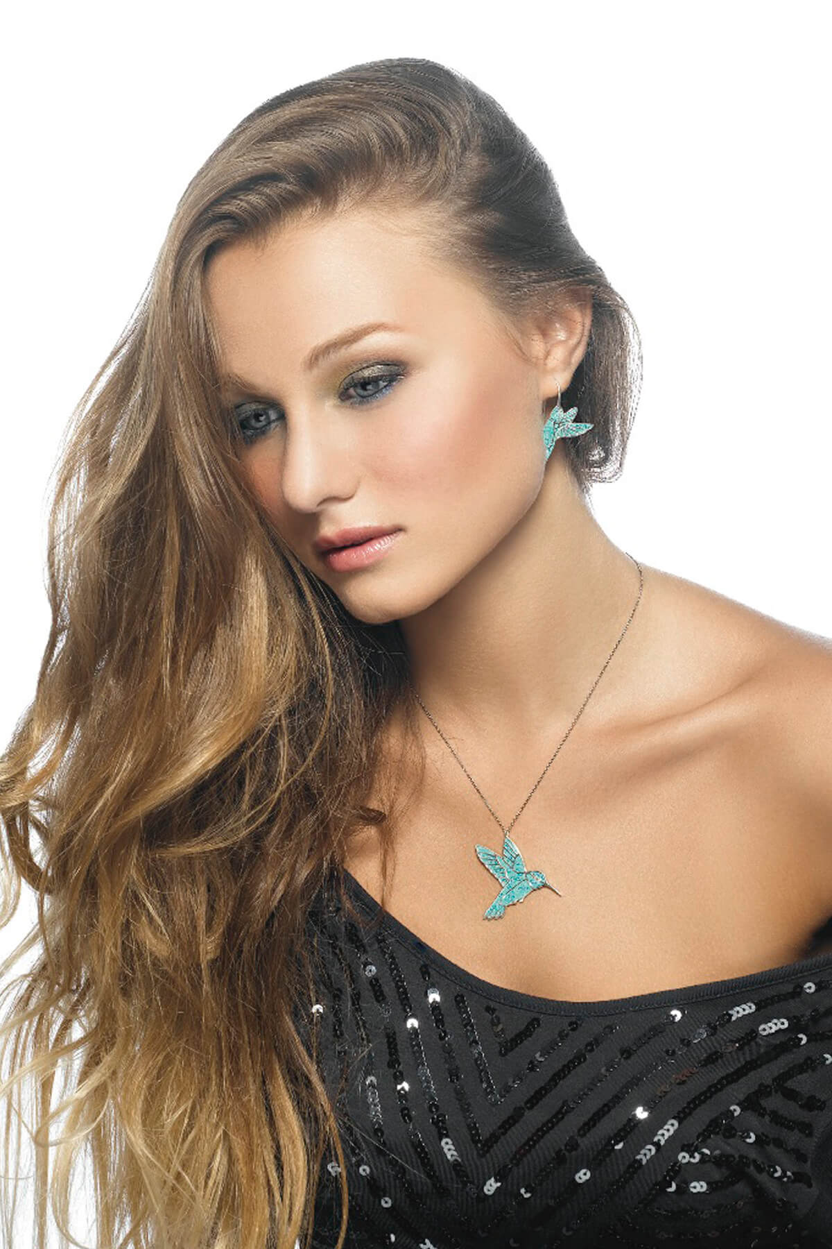 Handmade Silver Hummingbird Earrings and Necklace- Turquoise Pattern