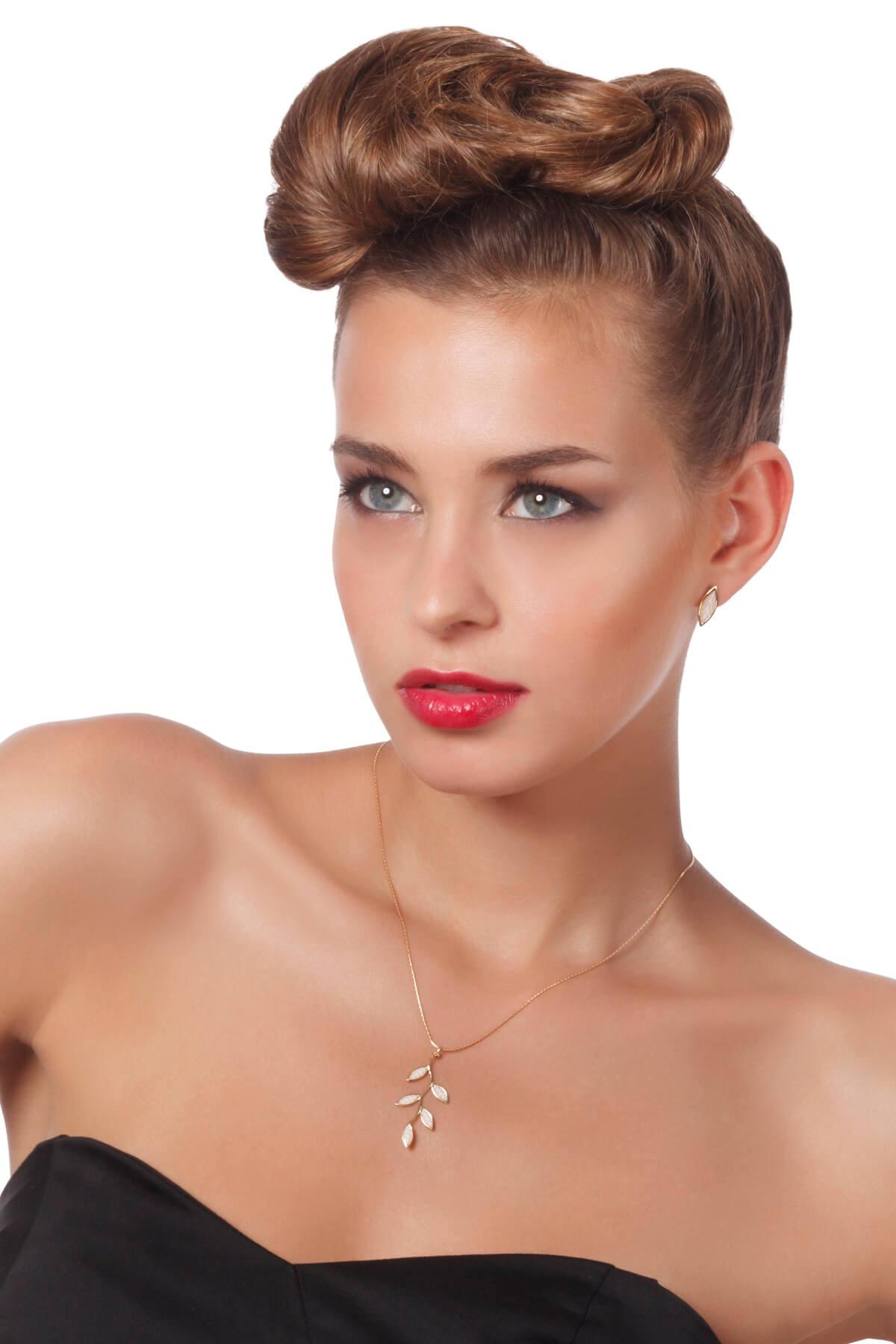 Handmade Vermeil Olive Leaf Stud Earrings and Necklace  – Pearl Pattern