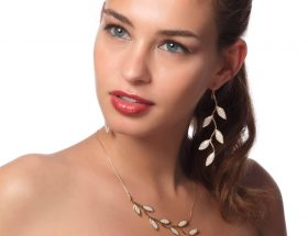 Handmade Vermeil Olive Leaf Long Earrings For Brides