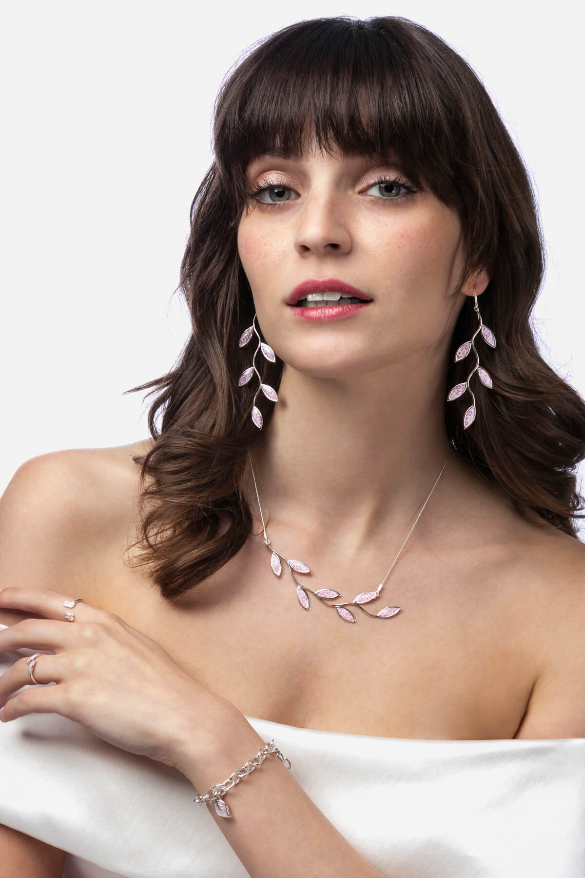 Handmade Silver Olive Leaf Long Earrings and Necklace – Rose Quartz Pink Pattern