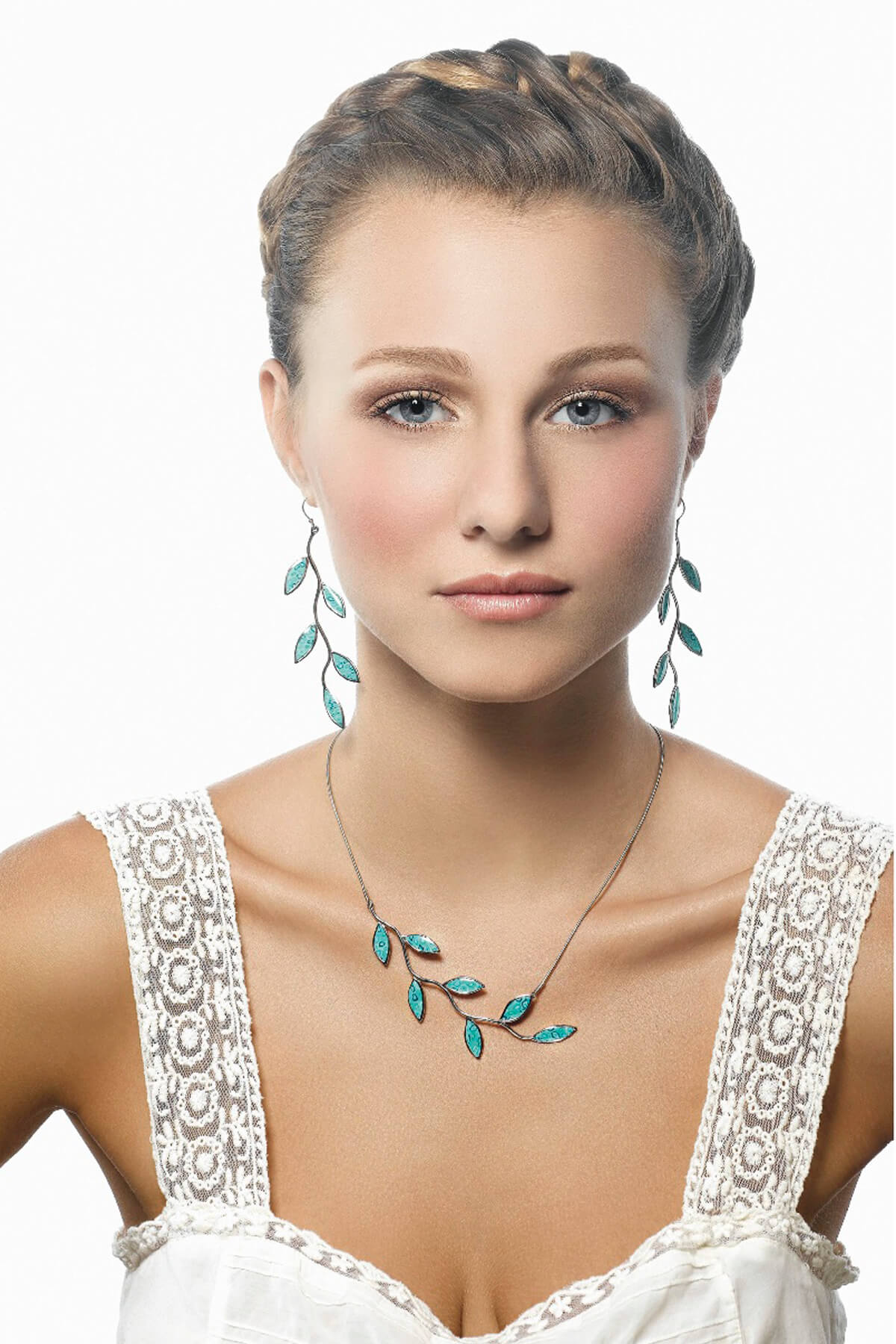 Handmade Silver Olive Leaf Long Earrings and Necklace- Turquoise Pattern