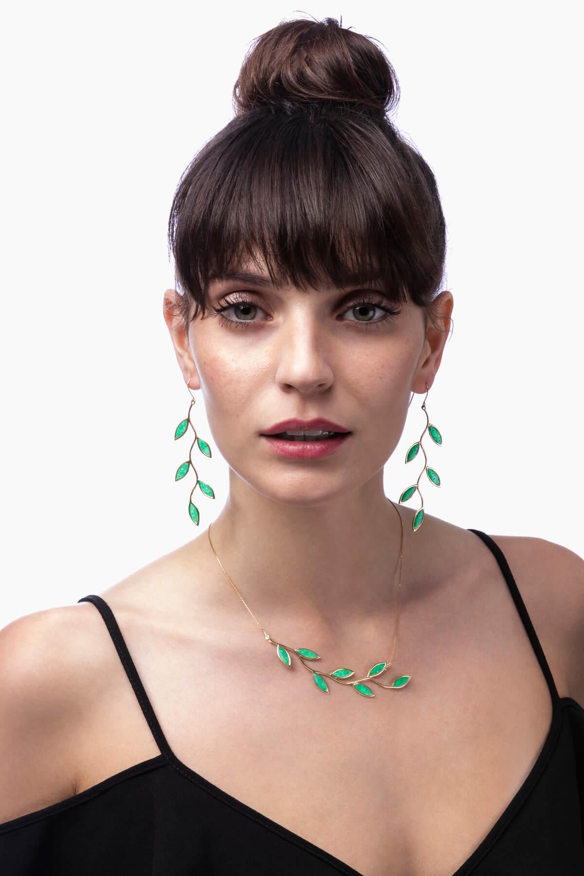 Handmade Vermeil Olive Leaf Long Earrings and Necklace – Green Jade Pattern