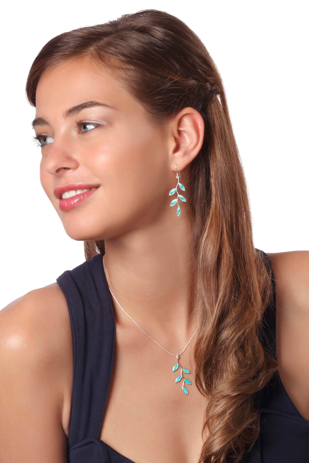 Handmade Silver Olive Leaf Earrings and Necklace -Turquoise Pattern