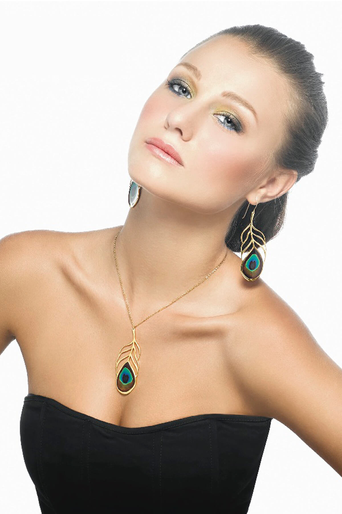 Handmade Vermeil Peacock Eye Feather Long Earrings and Necklace
