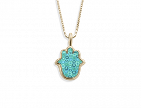 handmade vermeil hamsa charm necklace turquoise