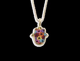 handmade vermeil hamsa charm necklace millefiori