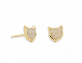 handmade vermeil cat stud earrings with pearl pattern