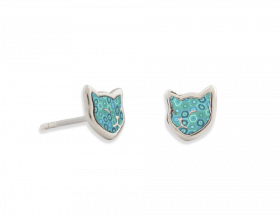 handmade silver napping cat stud earrings with turquoise pattern