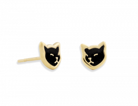 handmade vermeil napping black cat stud earrings with black pattern