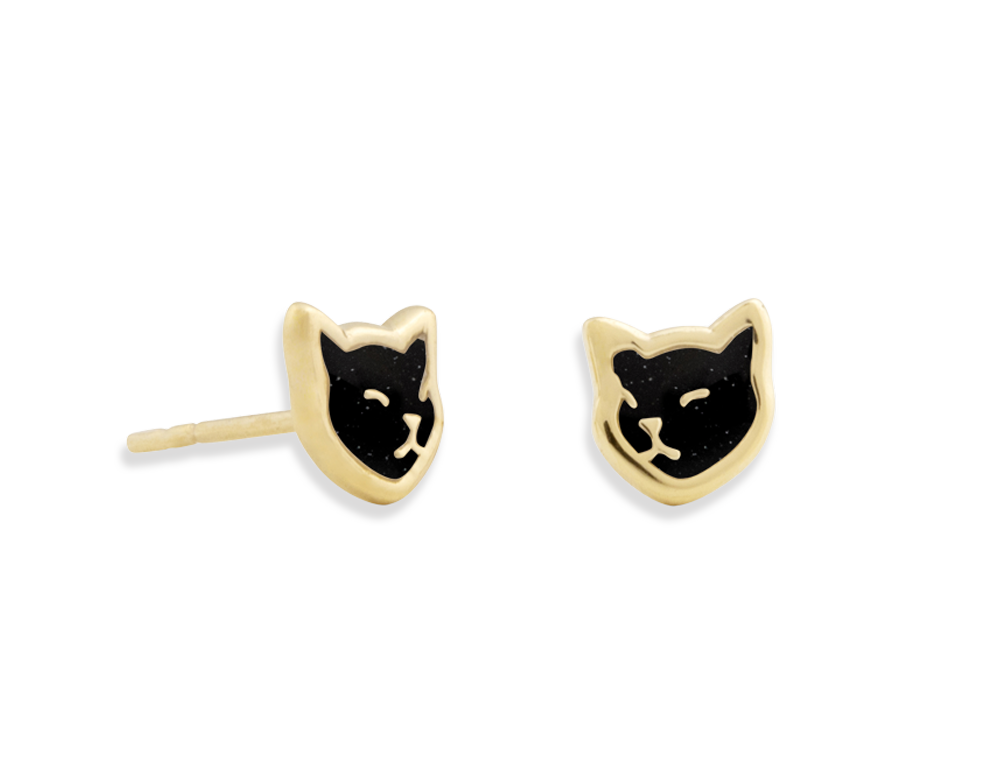 Vermeil Cat Stud Earrings Eac G Home