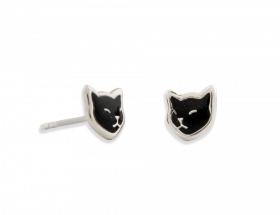 handmade silver napping black cat stud earrings with black pattern