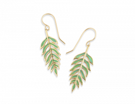 handmade vermeil palm leaf earrings with green translucent jade pattern