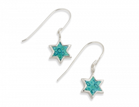 sterling silver star of david earrings with turquoise pattern
