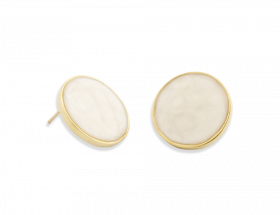vermeil circle stud earrings with pearl pattern