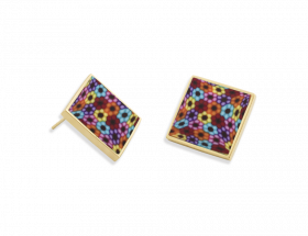 vermeil square stud earrings with millefiori pattern