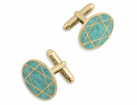 vermeil star of david turquoise cufflinks