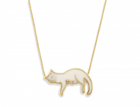 handmade vermeil napping cat necklace with white pattern