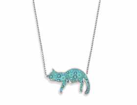 handmade silver napping cat necklace with turquoise pattern