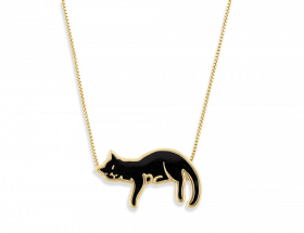handmade vermeil napping black cat necklace with black pattern