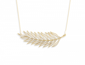 handmade vermeil palm leaf necklace with pearl pattern