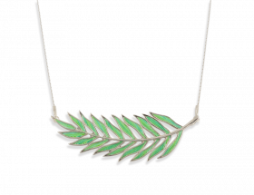 handmade silver palm leaf necklace with translucent jade green pattern