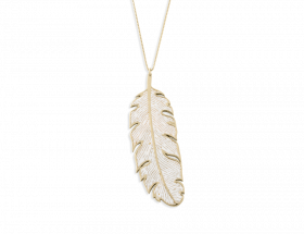 handmade vermeil long PARADISAEA feather necklace with pearl pattern