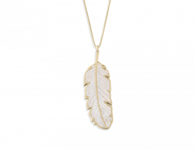 handmade vermeil PARADISAEA feather necklace with pearl pattern