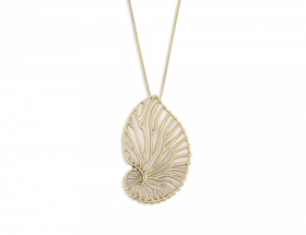 hand made vermeil nautilus necklace with pearl pattern