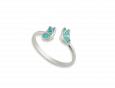 handmade silver butterfly adjustable ring turquoise pattern