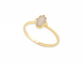 handmade vermeil hamsa stackable ring with pearl pattern