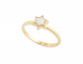 handmade vermeil star of david stackable ring with pearl pattern