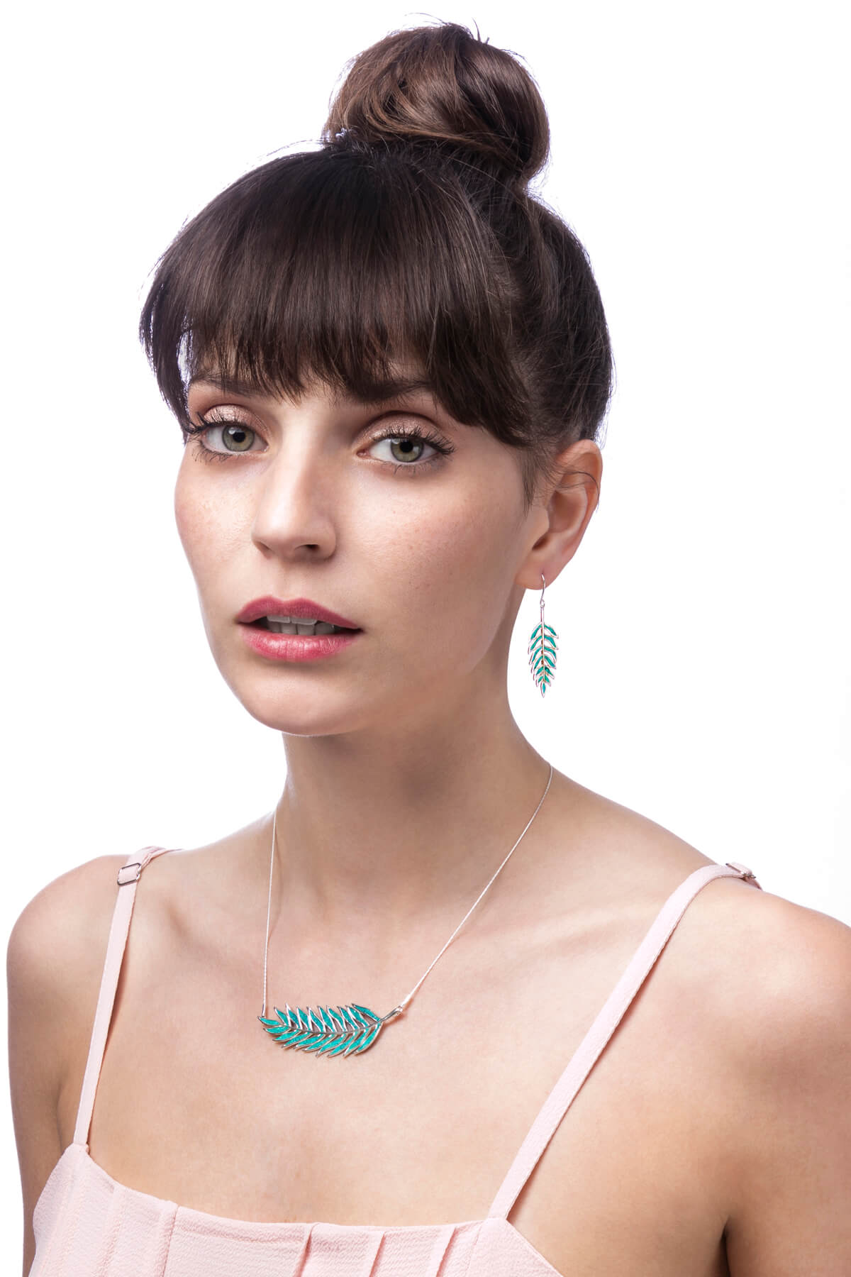 handmade silver palm leaf earrings & necklace with turquoise pattern