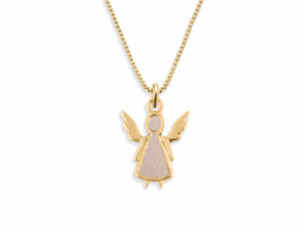 14K Yellow gold Angel charm, pearl pattern by Adina Plastelina