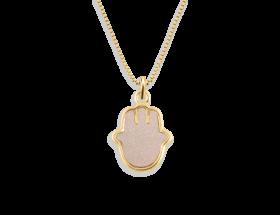 14K Yellow gold Hamsa charm, pearl pattern by Adina Plastelina