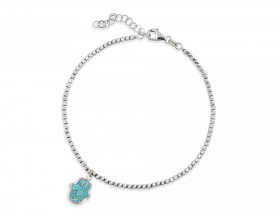 14K White gold Hamsa charm, turquoise pattern by Adina Plastelina