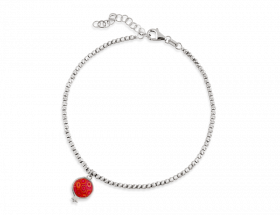 14K White gold Pomegranate charm, coral pattern by Adina Plastelina