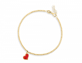 14K Yellow gold Heart charm, coral pattern by Adina Plastelina