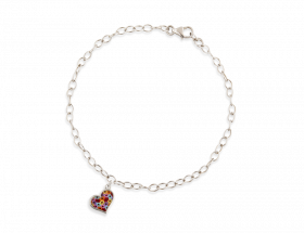 14K White gold Heart charm, Millefiori pattern by Adina Plastelina