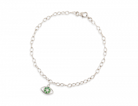 14K White gold Evil eye charm, Jade pattern by Adina Plastelina