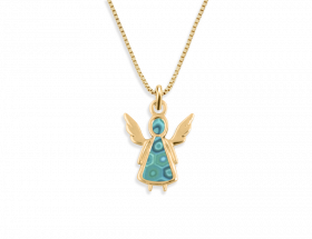 14K Yellow gold Angel charm, turquoise pattern by Adina Plastelina