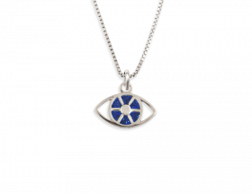 14K White gold Evil eye charm, royal blue pattern by Adina Plastelina