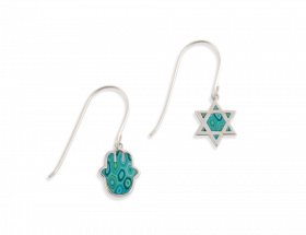 14K White gold Hamsa & evil eye hanging earrings, turquoise pattern by Adina Plastelina