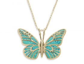 Yellow Gold Butterfly Necklace Turquoise Pattern by Adina Plastelina