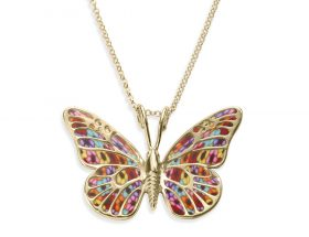 Yellow Gold Butterfly Necklace Millefiori Pattern by Adina Plastelina