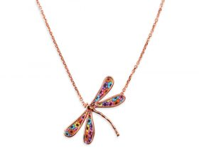 14K Rose Gold Small Dragonfly Necklace Milefiore Pattern by Adina Plastelina
