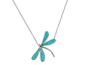 14K White Gold Small Dragonfly Necklace Turquoise Pattern by Adina Plastelina